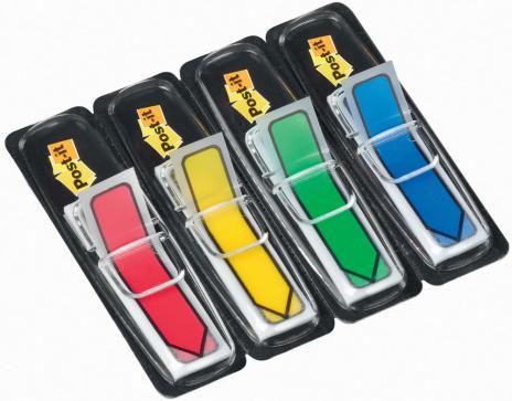 Post-it® Haftstreifen Index Pfeile 4 Block/Pack. 1 x rot, 1 x gelb, 1 x grün, 1 x blau