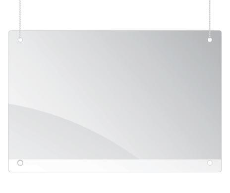 Schutzscheibe, abhängbar inkl. Perlschnur zur Deckenabhängung 800 x 650 mm (B x H)