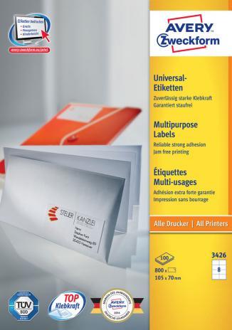Avery Zweckform Universaletikett weiß, 800 Etik./Pack. 105 x 70 mm