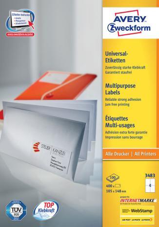 Avery Zweckform Universaletikett weiß, 105 x 148mm,400 Etik./Pck.