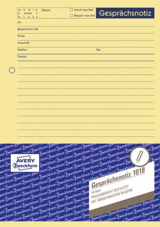 Avery Zweckform Gesprächsnotiz DIN A5, 1018-2