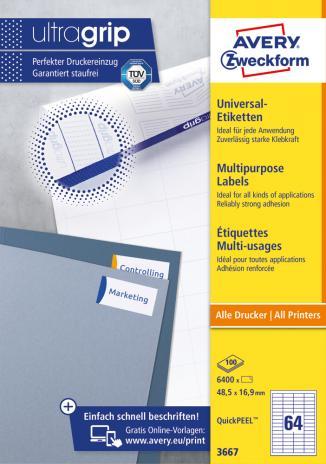Avery Zweckform Universaletikett ultragrip 3667 48,5 x 16,9 mm weiß-2