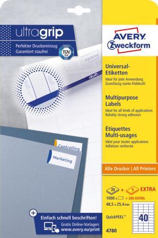 Avery Zweckform Universaletikett ultragrip 4780 48,5 x 25,4 mm weiß-2