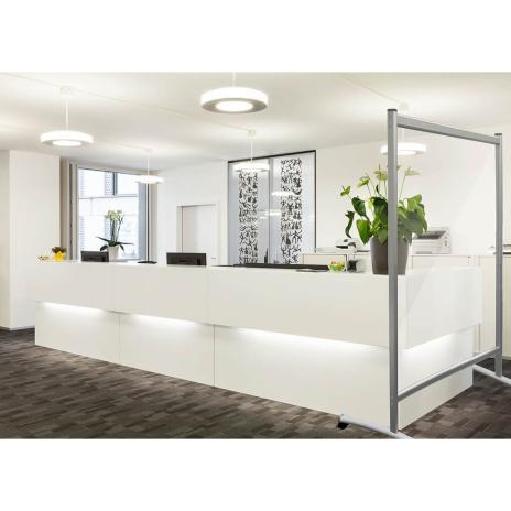 Trennwand / Spuck- und Niesschutz Acrylglas, mobil, mit Rollen 1200 x 1500 mm (B x H)-2