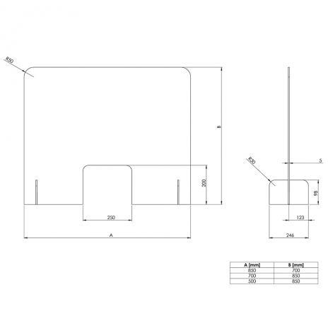 Schutzscheibe / Spuck- und Niesschutz, Acrylglas 700 x 850 mm (B x H)-2