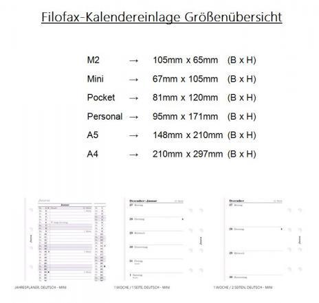 Filofax Kalendereinlage Wochenplaner Professional A5 1 Woche / 2 Seiten Deutsch-2019-2