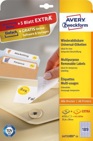 Avery Zweckform Universaletikett weiß, 25,4 x 10 mm, Vorteilspack + 5 Blatt gratis-2
