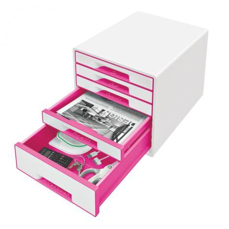 Leitz Schubladenbox WOW CUBE 5 Schubfächer pink, weiß-2