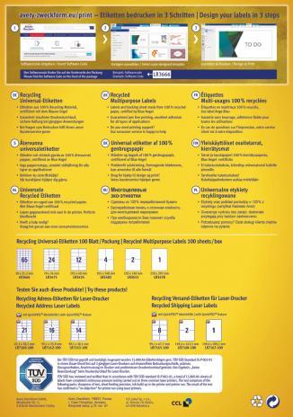 Avery Zweckform Universaletikett Recycling, naturweiß, 100 St.-2