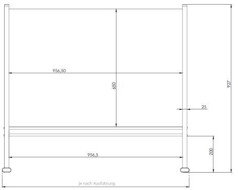 Trennwand / Spuck- und Niesschutz Acrylglas, mit Seitenteilen 400 x 650 mm (B x H)-2