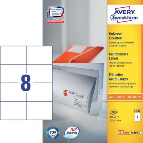 Avery Zweckform Universaletikett weiß, 800 Etik./Pack. 105 x 70 mm-2