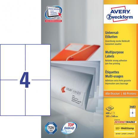 Avery Zweckform Universaletikett weiß, 105 x 148mm,400 Etik./Pck.-2
