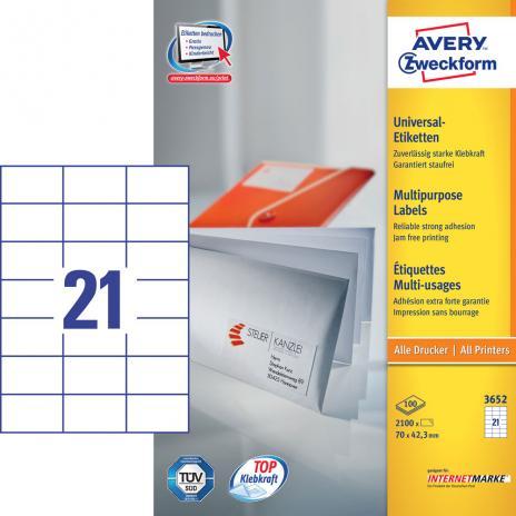 Avery Zweckform Universaletikett weiß 70 x 42,3 mm-2