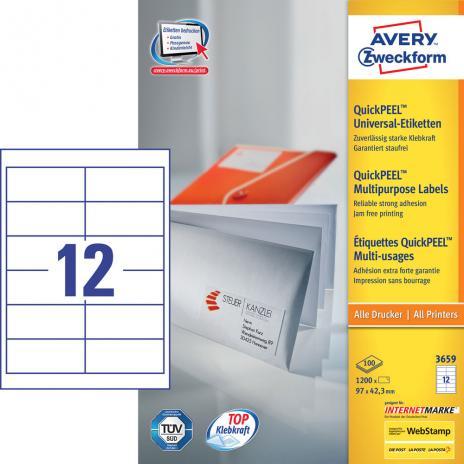 Avery Zweckform Universaletikett weiß, 97 x 42,3 mm-2