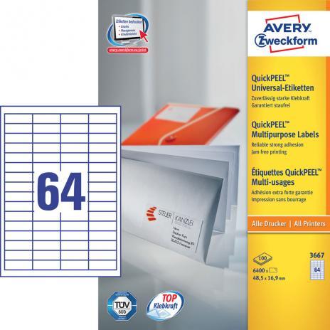 Avery Zweckform Universaletikett weiß, 48,5 x 16,9 mm-2
