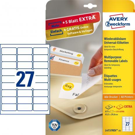 Avery Zweckform Universaletikett weiß, 63,5 x 29,6 mm, Vorteilspack + 5 Blatt gratis-2