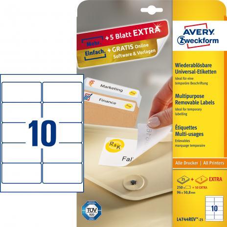 Avery Zweckform Universaletikett weiß, 96 x 50,8 mm, Vorteilspack + 5 Blatt gratis-2