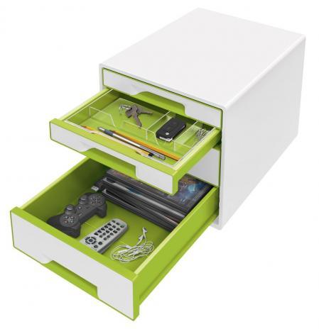 Leitz Schubladenbox WOW CUBE 4 Schubfächer grün, weiß-3