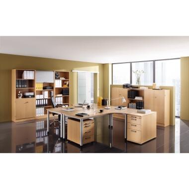 Hammerbacher Schreibtisch 200 x 63,5-128,5 x 120 cm grau-4