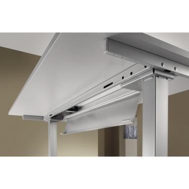 Hammerbacher Schreibtisch 160 x 62,5-127,5 x 80 cm grau-5