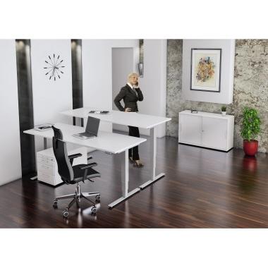 Hammerbacher Schreibtisch 160 x 62,5-127,5 x 80 cm grau-7