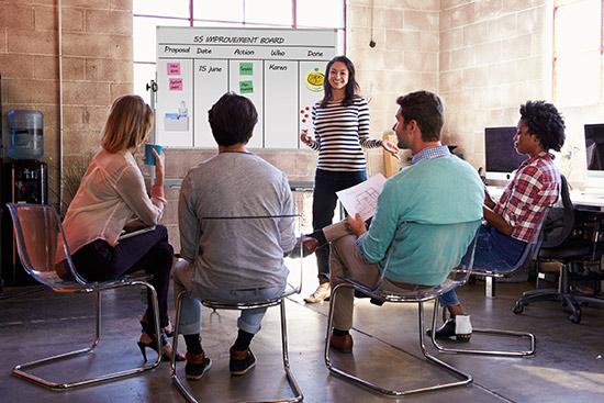 Whiteboard aus Glas für agiles Projektmanagement