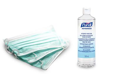 Desinfektionsmittel und Masken